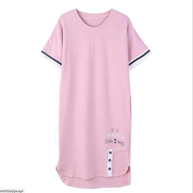 Meaeo Camisón De Verano De Manga Corta 100% Algodón Ropa De Dormir Pijamas Mujeres Camisones Más Tamaño, 4XL: Amazon.es: Ropa y accesorios