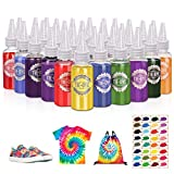 JOYXEON Tie Dye Kit, 32 Colors One Step Tie Dye Kits All-in-1 Tie Dye Set with Spray Nozzles,Rubber Bands,Gloves,Apron,Table Covers and Hair Band for Craft Arts Fabric Textile for Kids and Adults (Color: Multi)