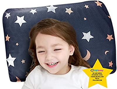 Agibaby Hypoallergenic 3D Air Mesh Bacteria-Free Washable/Breathable Toddler Cool Pillow 13x18 With Cover
