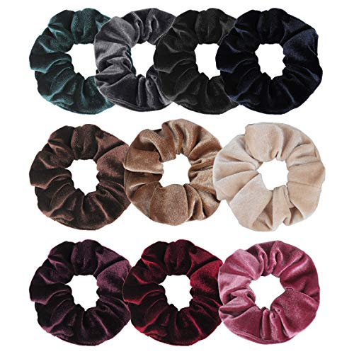 Jaciya 10 Pack Hair Elastics Scrunchies Velvet Scrunchy Bobbles Soft Elegant Elastic Hair Bands Hair Ties, 10 Colors (10 Pack)