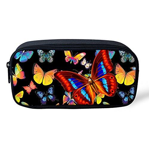 coloranimal Cute Animal Schmetterling gemustert Mädchen Bleistift Tasche Kids Schulbedarf Pen Fall 8.66 inch(L)x1.77 inch(W)x4.33 inch(H) butterfly pattern-2 butterfly pattern-4 wF5hB2tL