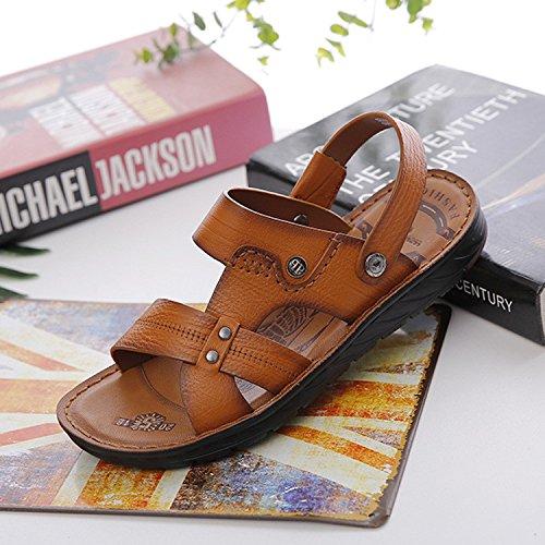 Sandali Uomini Tempo libero Scarpe da spiaggia Estate I pattini della pelle molle della pelle bovina del sandalo delle nuove scarpe della gioventù Fashion Brown, UK = 6.5, EU = 40