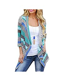 Kaimu Women Casual 3/4 Sleeve Patchwork Asymmetry Hem Loose Long Cardigan Cardigans