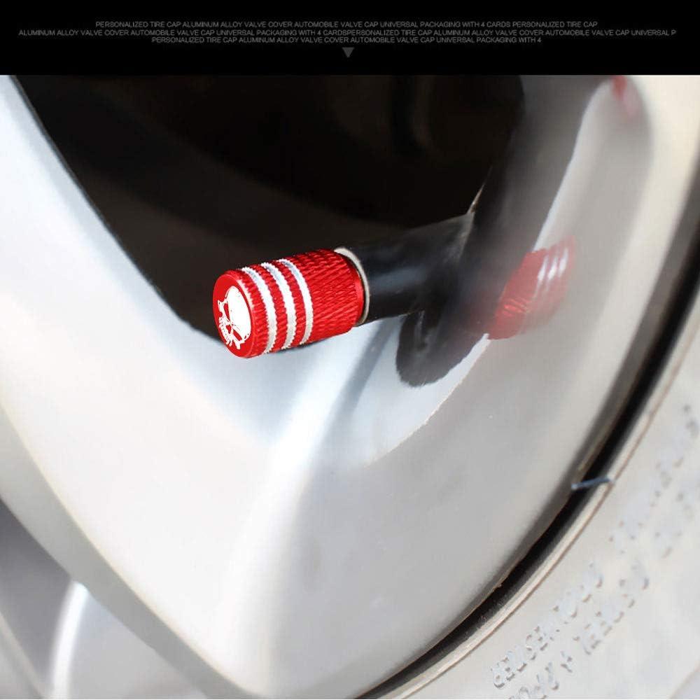 Set casquettes anti-poussi/ère de voiture en aluminium bouchons de valve dair de tige de roue de pneu Bleu HIGGER Bouchons de valve de tige de pneu de cr/âne 4Pcs