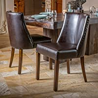 Rydel Brown Leather Dining Chairs (Set of 2)