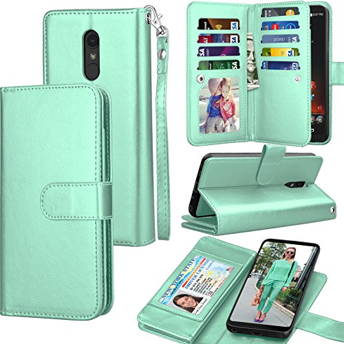 LG Stylo 4 Case, LG Q Stylus Wallet Case, LG Stylo 4 Plus PU Leather Case, Tekcoo ID Cash Credit Card Slots Holder Purse Carrying Folio Flip Cover [Detachable Magnetic Hard Case] Kickstand - Turquoise