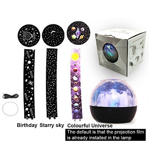 Accreate Projection Lamp USB Chargeable Colourful Whirling Projection Lamp Decoration (with Birthday & Starry Sky & Universe Projection Film) by Accreate (Image #4)