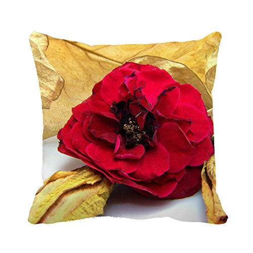 Heavyxias Decorative 18 x 18 Inch Canvas Pillow Cover Cushion Case, Rose With Yellow Leaves