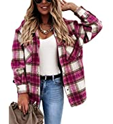 Himosyber Women's Vintage Lapel Plaid Button Up Brushed Wool Blend Shirts Shacket Outerwear