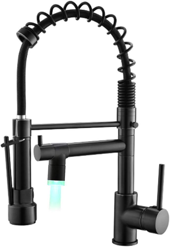 Qidian Black Kitchen Faucet Commercial Single Handle Pull Down Sprayer Kitchen Sink Faucet With Led Spout Amazon Com