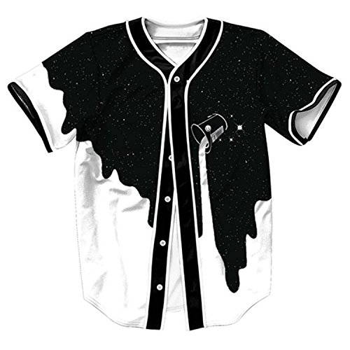 HOP FASHION Youth Unisex Boy Girl Baseball Jersey Short Sleeve 3D Black White Milk Print Dance Team Uniform Tops Tees HOPM007-35-M