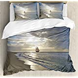 Ambesonne Nautical Duvet Cover Set, A Sailing Ship Close to Sandy Beach in Moody Sunset Paradise Tropical Theme, 3 Piece Bedding Set with Pillow Shams, Queen/Full, Blue Beige White