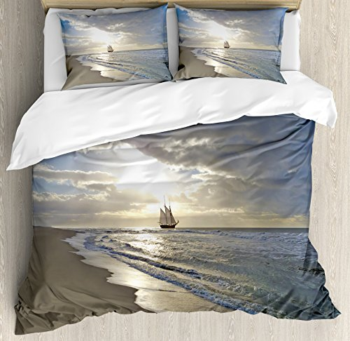 Ambesonne Nautical Duvet Cover Set, Sailing Ship Close to Sandy Beach in Moody Sunset Paradise Tropical Theme, Decorative 3 Piece Bedding Set with 2 Pillow Shams, Queen Size, White Beige