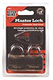 Master Lock Padlock, Covered Aluminum Lock, 1-3/16 in. Wide, Black, 131T (Pack of 2-Keyed Alike)