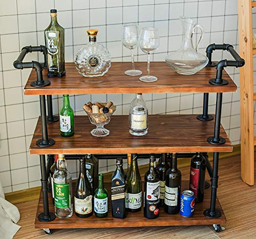 DOFURNILIM Bar Carts/Serving Carts/Kitchen Carts/Wine Rack Carts on Wheels with Storage - Industrial Rolling Carts - 3 Tiers Wine Tea Beer Shelves/Holder - Solid Wood and Metal from DOFURNILIM