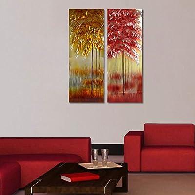 winpeak Bog vida excelente dorado metal aluminio pared arte ...