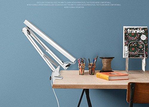 color blanco Long Arm Metal plegable clip-on LED l/ámpara de escritorio con puerto de carga USB