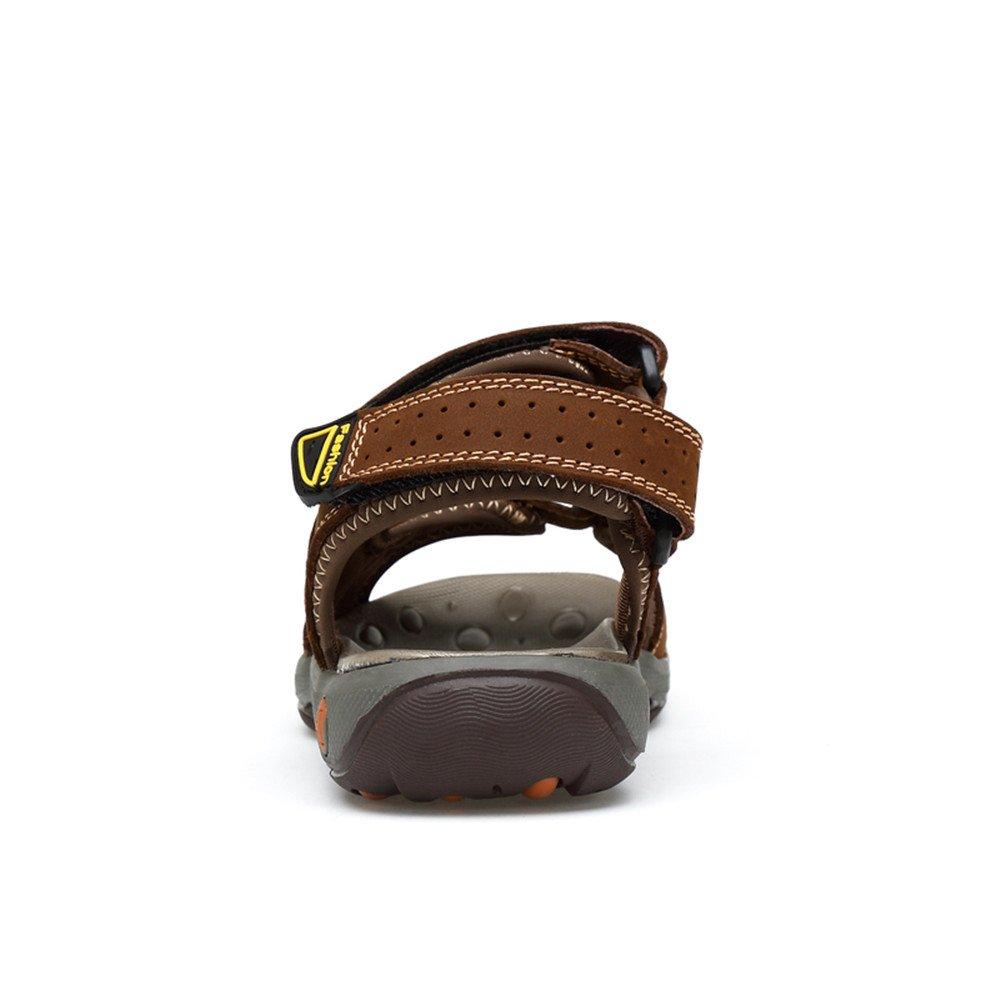 Männer Hausschuhe Echtem Rindsleder Strand Hausschuhe Casual Sandalen Rutschfeste Weiche LoopClosed,für Flache Schuhe Haken & LoopClosed,für Weiche Männer Braun 99dfbe