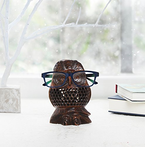 Store Indya Wooden Eyeglass Spectacle Holder Display Stand Home Decorative (Brown - Spectacles Dark