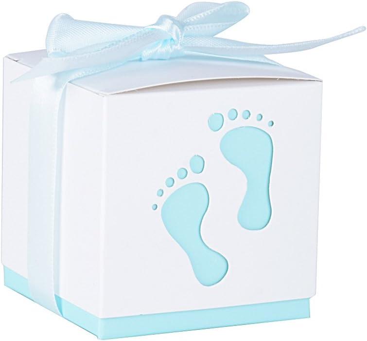 50Pcs Cajas de Papel Bautizo Caramelos Bombones Regalos Detalles para Invitados de Boda Fiesta Comunion Cumpleaños de Niño con Cintas (Pequeños pie Azul)