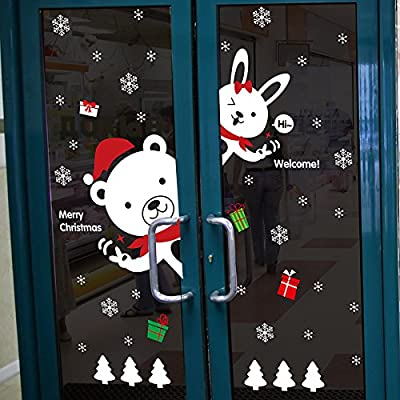 "SWORNA Holiday Series Welcome Merry Christmas with Bear/Rabbit Snowflake Gift Removable Vinyl Wall Mural Decal Sticker for Retail Store/Restaurant/Coffee House/Dress Shop/Home Door/Window 57""H X 50""W"