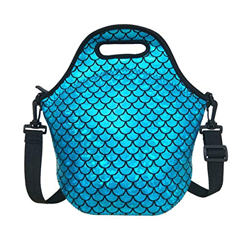 Insulated Lunch Bag, Neoprene Shoulder Lunch Tote Boxes Bags for Women Men Kids Work Office Outdoor Picnic Travel, Mermaid Scale - Lunch Insulated Tote Box