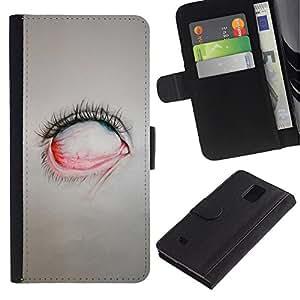 Billetera de Cuero Caso Titular de la tarjeta Carcasa Funda para Samsung Galaxy Note 4 SM-N910 / Creepy Eye Painting Emo Sad Goth / STRONG