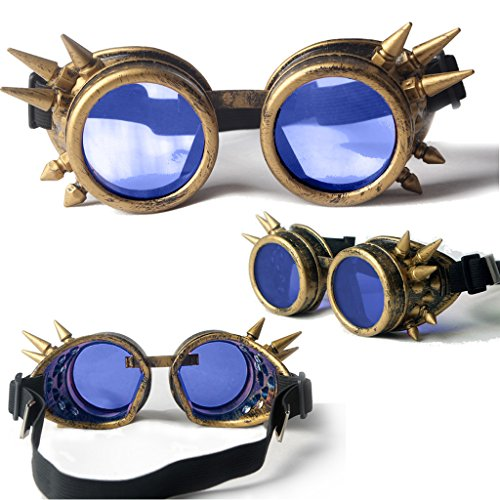 Lelinta Spiked Goggles Steampunk Welding Goth Cosplay Vintage Goggles Rustic (Cosplay Steampunk Costumes)