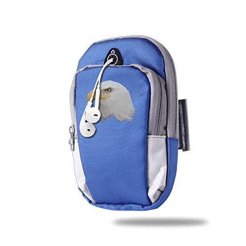 3D White Eagle Design Outdoor Sports Armband Arm Package Bag Cell Phone Bag Key Holder For Iphone 6/6s/7/7p One Size RoyalBlue