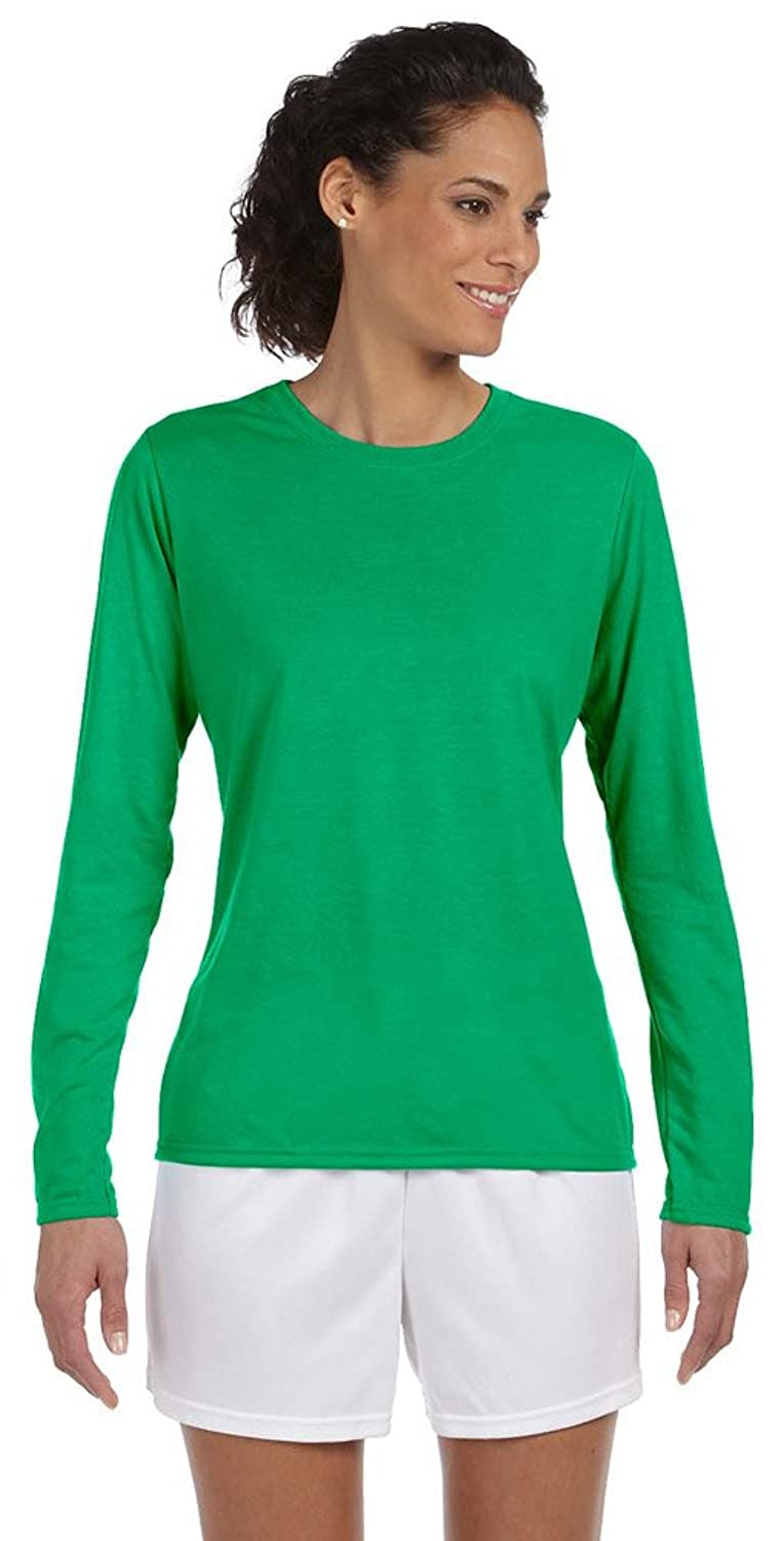 Gildan Performance Ladies 4.5 oz. Long-Sleeve T-Shirt, XL, IRISH GREEN