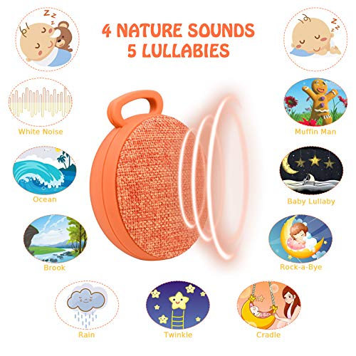 Sound Machine, L'émouchet 9 Sounds Baby White Noise Machine, 4 Soothing Nature Sounds and 5 Lullabies, Rechargeable Battery, Much Longer Auto-Off Timer, Portable Sound Machine