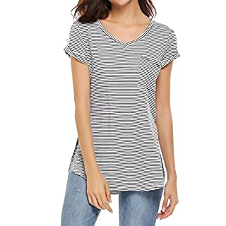 Meaneor Womens V Neck Striped T Shirt Short Sleeve Tunic Tops Plus Size
