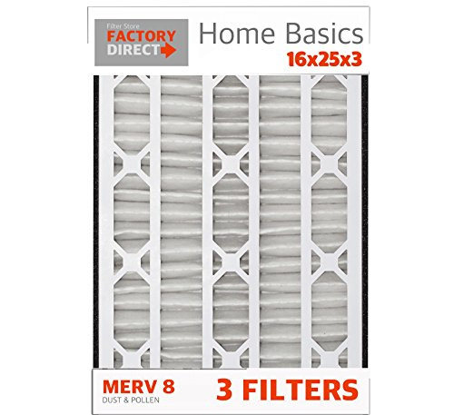 16x25x3 Lennox Replacement Air Filters (3 Pack), MERV 8, Compatible with X0581 X5427 and BMAC-12