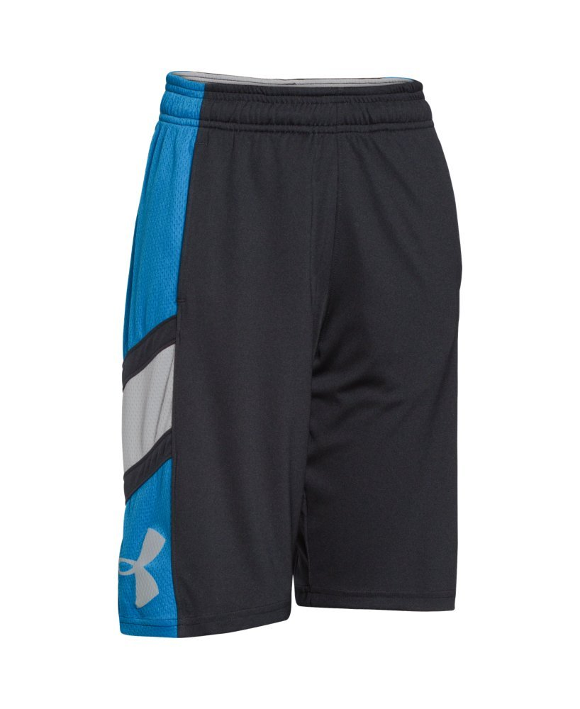 Under Armour Boy's Crossover Basketball Shorts Black/Pool/Aluminum Size Medium 1254005-002