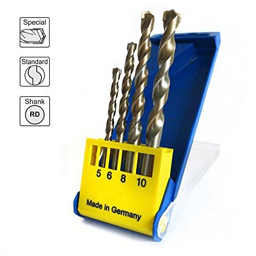 S&R Betonbohrer Set, Superschlag mit zylindrischem Schaft /für Beton, Ziegel, Naturstein und Kunststein/ in Kunststoffbox 4Stk: 5x85, 6x100, 8x120, 10x120 mm