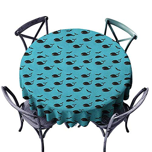 ScottDecor Modern Round Tablecloth Dinning Tabletop Decoration Whale,Abstract Blue Sea with Tiny Waves Smiling Swimming Diving Fish with Fins Aquatic, Sky Blue Black Diameter 36
