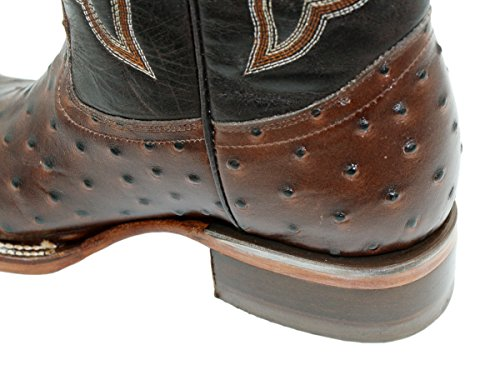 Men Brown Toe Cowhide Boots Western Print Square Cowboy Leather Genuine Michi Dona Ostrich fx7Cqw5g