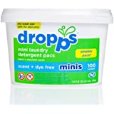 Dropps HE Hand/Machine Wash Laundry Mini Detergent Pacs, Scent + Dye Free, 100 Count