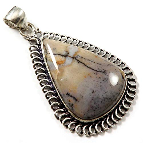 GoyalCrafts Amethyst Sage Dendritic Agate Pendant Natural Gemstone Silver Plated Jewelry GPE196