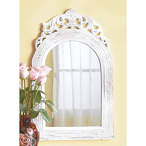 Mirrors Home Decor Arched Top Wood Frame Weathered White Finish Wall Mirror