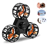 2018 New Toys Flying Fidget Spinner Drone Funny Interactive Fidget Handheld Rotation Triangle Toys for Anti-Anxiety ADHD Stress Relief and Family Interactive Games for Kids Adults Outdoor (Black)