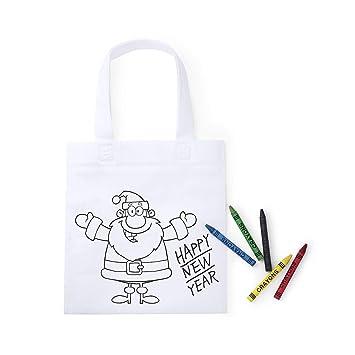 DISOK Bolsa Infantil Navidad para Colorear con 5 Ceras ...
