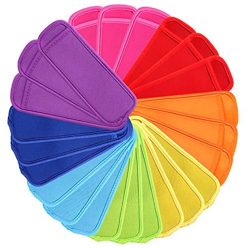 (24 Pack Reusable Popsicle Bags Ice Pop Sleeves Antifreezing Sleeves,8 Colors)