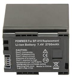 STK\'s Canon BP-819 Battery - 2700mAh for Canon XA10, Vixia HF G10, HF M40, HF200, HF10, HF20, HF S21, HF M41, HF S100, HF S200, HF M400, HF100, HG20, HF S20, HF S30, HF S10, HF11, HG21, HF S11, M31, M300, M30, CG-800