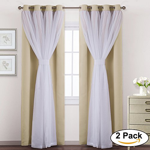 Beige Mix & Match Voile Blackout Curtains-PONY DANCE Double LayerWindow Treatments Panels for living Room/bedroom,52 by 63 inches,Beige,Set of two