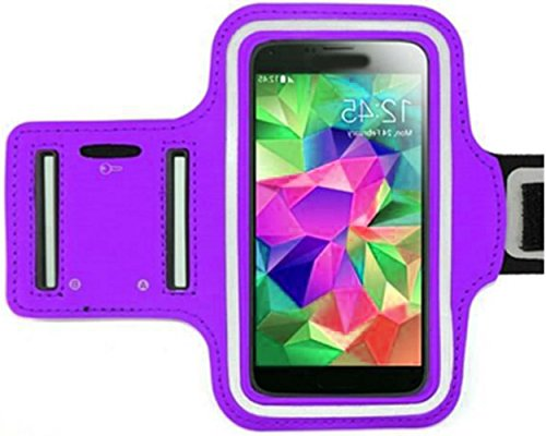 """myLife Brilliant Violet Purple {Rain Resistant Velcro Secure Running Armband} Dual-Fit with Key Slot Jogging Arm Strap Holder for HTC One M7, M8, and M9 """"All Ports Accessible"""""""