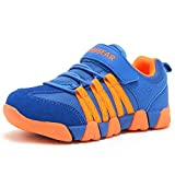 KALUQI Boy Sneakers Hook and Loop Kids Sports Running Shoes Comfortable Lightweight(33, Blue)