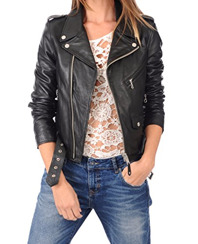 LEATHER FARM Women's Lambskin Leather Bomber Biker Jacket X-Small Black - Outerwear Lambskin Leather Bomber