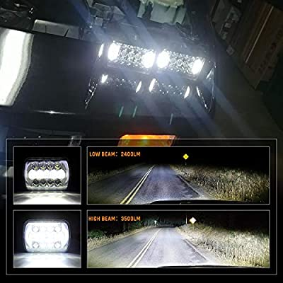 105W 5x7 7x6 Inch High Low Beam Led Headlights for Jeep Wrangler YJ Cherokee XJ H6054 H5054 H6054LL 69822 6052 6053 with Angel Eyes DRL (Black, 2PCS): Automotive