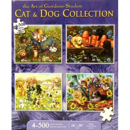 Karmin International Puppies And Kittens 500 Piece Jigsaw Puzzle  4 Pack